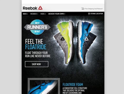 Reebok Floatride email campaign